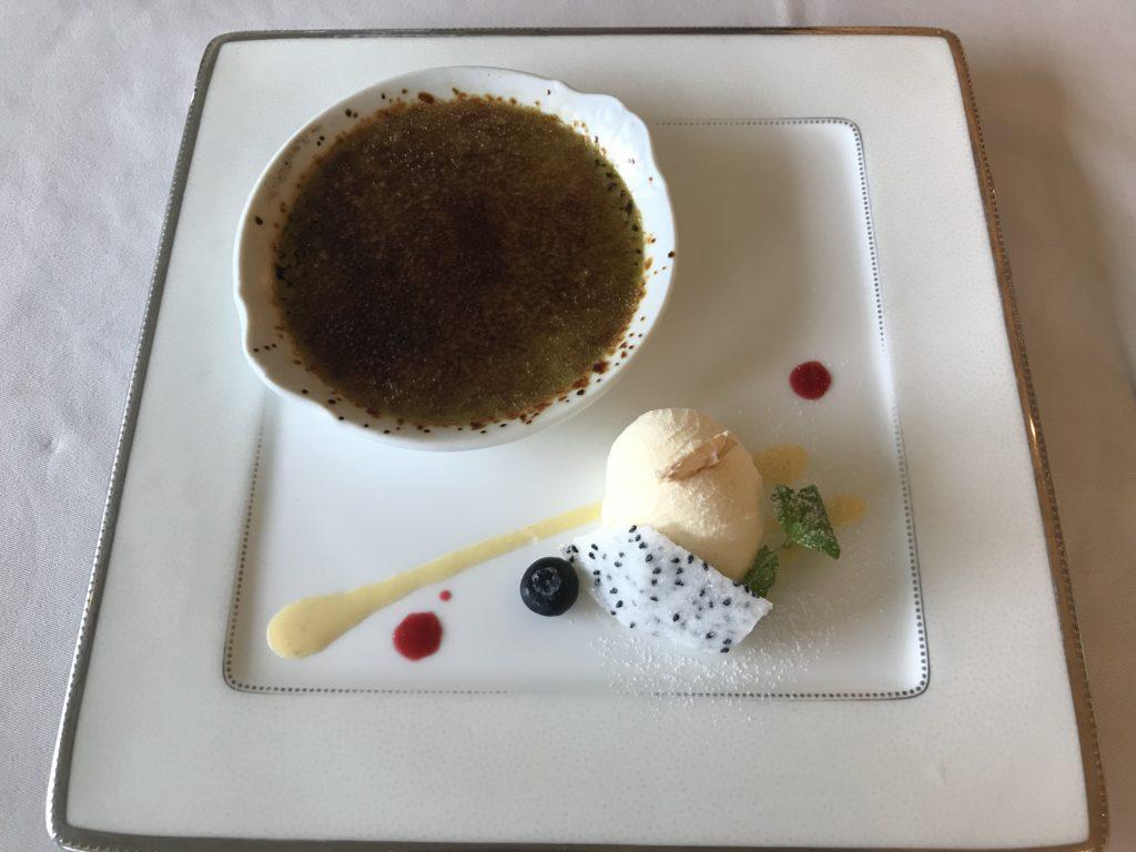 上野精養軒のコース デザート(抹茶のクリームブリュレとバニラアイス)