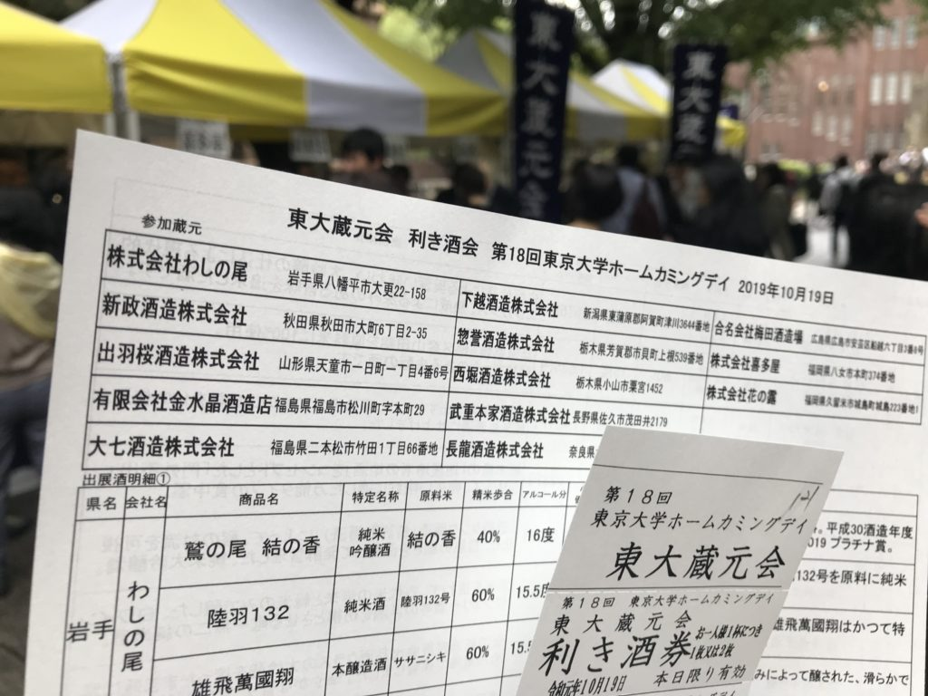 東大蔵元会(第18回東京大学ホームカミングデイ)の資料とチケット
