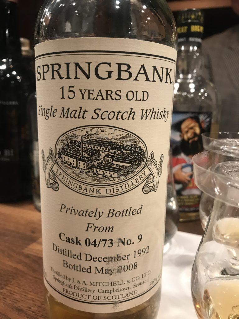 スプリングバンク 1992-2008 15年 Privatelry Bottled From Cask 04/73 No9 BourbonCask OB 48%