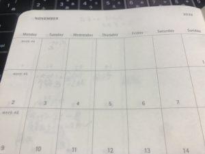 モレスキン手帳のカレンダー